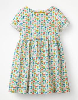 Naturweiß, Blumenaufnäher Witziges Jerseykleid