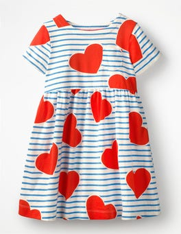 Elizabethan Blue Stripe/Hearts Fun Jersey Dress
