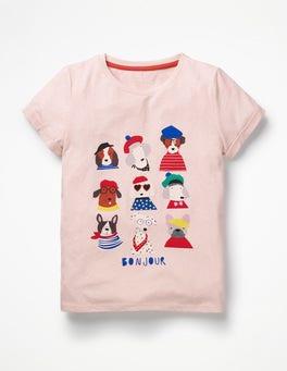 Parisian Pink Dogs Fun Animal Printed T-shirt