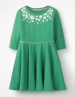 Jungle Green Embroidered Ballerina Dress