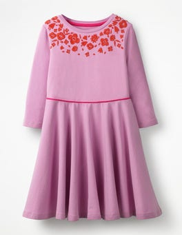 Lilac Pink Embroidered Ballerina Dress