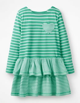 Jungle Green/Ivory Stripy Jersey Dress