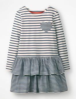 College Blue/Ivory Stripy Jersey Dress