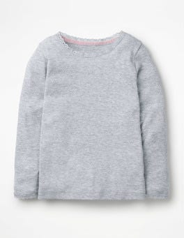Grau Meliert Superweiches Pointelle-T-Shirt
