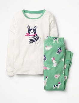 Turtle Green Doodle Dogs Cosy Long John Pyjamas