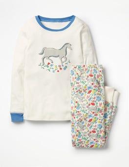 Multi Wild Ponies Cosy Long John Pajamas