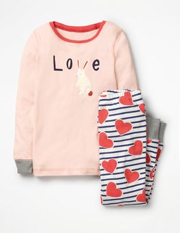 Jam Pink Hearts Cosy Long John Pyjamas
