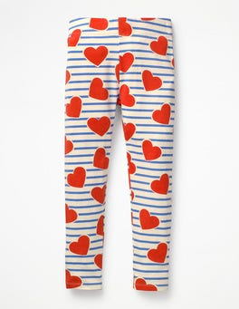 Elizabethan Blue Stripe/Hearts Fun Leggings