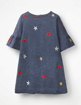 Indigo Jersey Hearts Flute-Sleeved Dress