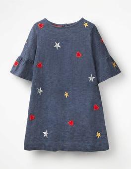 Indigo-Jersey, Herzen Kleid mit Trompetenärmeln