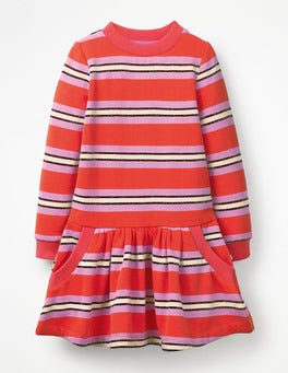 Beam/Lilac Pink Sparkle Stripe Cosy Sweatshirt Dress
