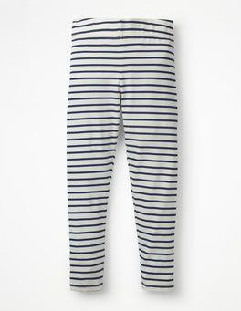 Ecru/School Navy Stripe & Spot Leggings