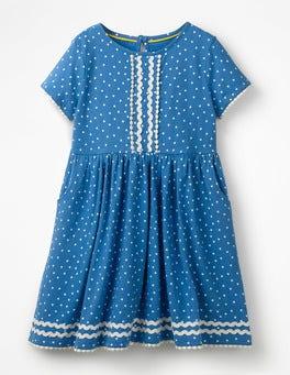 Elizabethan Blue Sweet Hearts Heart Print Jersey Dress