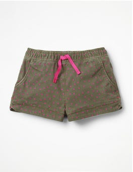 Khaki Green Sweet Hearts Heart Pocket Shorts