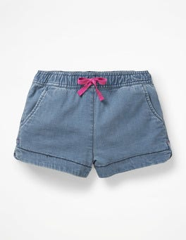 Chambray Blue Heart Pocket Shorts
