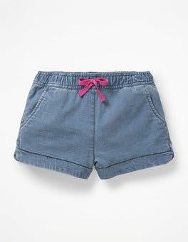 Denim-Blau Shorts mit Herztaschen