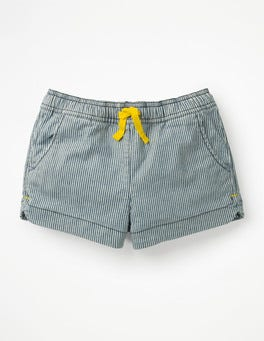 College Blue Stripe Heart Pocket Shorts