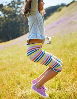 Legging court à rayures et pois