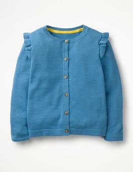 Elisabethanisches Blau Cardigan mit Rüschen