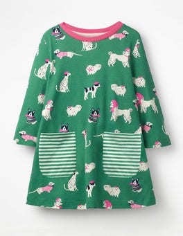 Jungle Green Doodle Dogs Printed Tunic