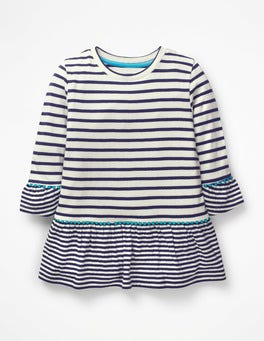 Ivory/College Blue Stripy Longer Length Top