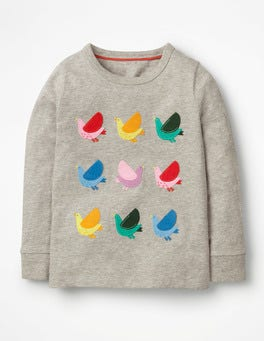 Grey Marl Birds Textured Appliqué T-shirt