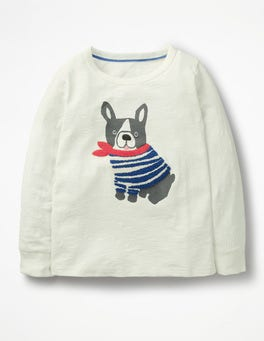 Ivory Dog Textured Appliqué T-shirt