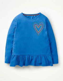 Duke Blue Heart Embroidered Frilly Top