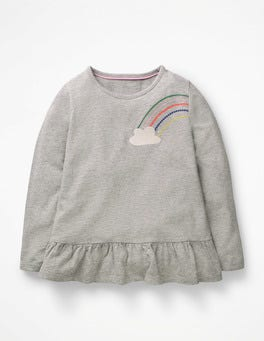 Grey Marl Rainbow Embroidered Frilly Top