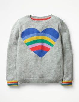 Grey Marl Heart Fun Heart Sweater