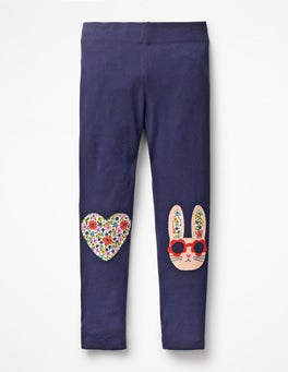 Navy Bunny Appliqué Leggings