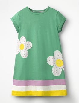 Jungle Green Flowers Big Appliqué T-shirt Dress