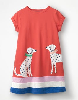 Beam Red Dalmations Big Appliqué T-shirt Dress