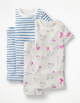 Ivory Doodle Dogs/Lake Blue Twin Pack Short John Pyjamas