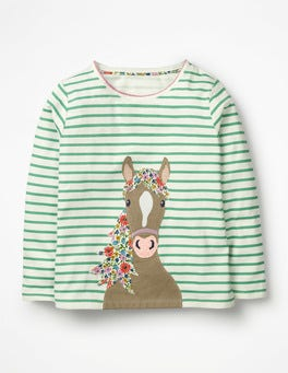 Ivory/Jungle Green Horse Stripy Animal Appliqué T-shirt