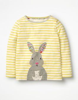 Ivory/Sunshine Yellow Bunny Stripy Animal Appliqué T-shirt