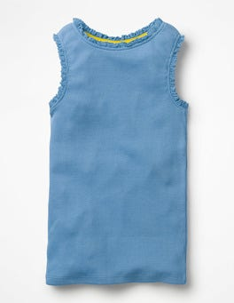 Lake Blue Lace Trim Ribbed Vest