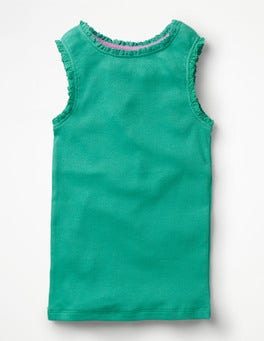 Jungle Green Lace Trim Ribbed Vest