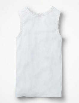White Lace Trim Ribbed Vest