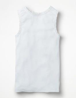 Weiß Geripptes Trägershirt mit Spitzenborte