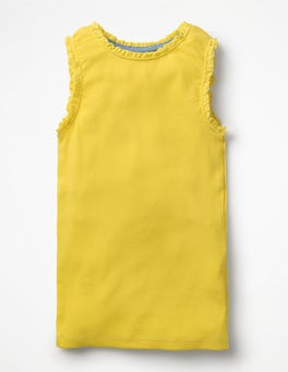 Sunshine Yellow Lace Trim Ribbed Tank