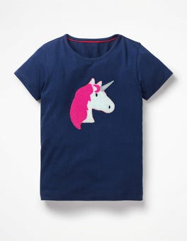 College Blue Unicorn Bouclé Appliqué T-shirt
