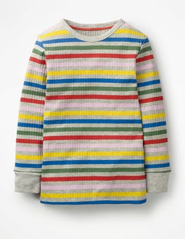 Grey Rainbow Stripe Stripy Ribbed T-shirt