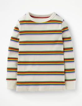 Ivory/ Multi Rainbow Stripy Ribbed T-shirt