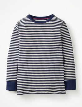 College Blue/Ivory Stripy Ribbed T-shirt