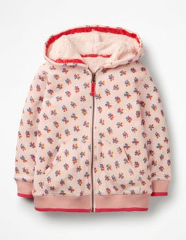 Parisian Pink Vintage Posy Printed Shaggy Zip-up