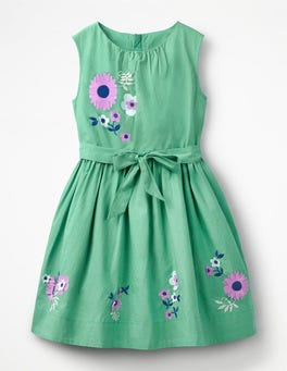 Jungle Green Flowers Vintage Dress