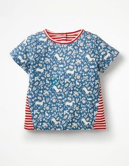 Elizabethan Blue Wild Ponies Hotchpotch Printed T-shirt
