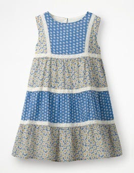 Elizabethan Blue Daisies Floaty Hotchpotch Dress