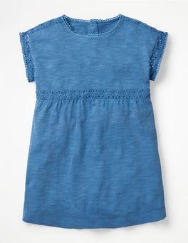 Elisabethanisches Blau Stückgefärbtes Jerseyoberteil